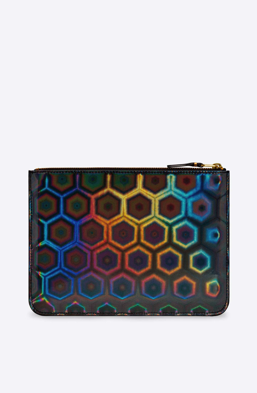 Black Rainbow Large Zip Pouch-black multi