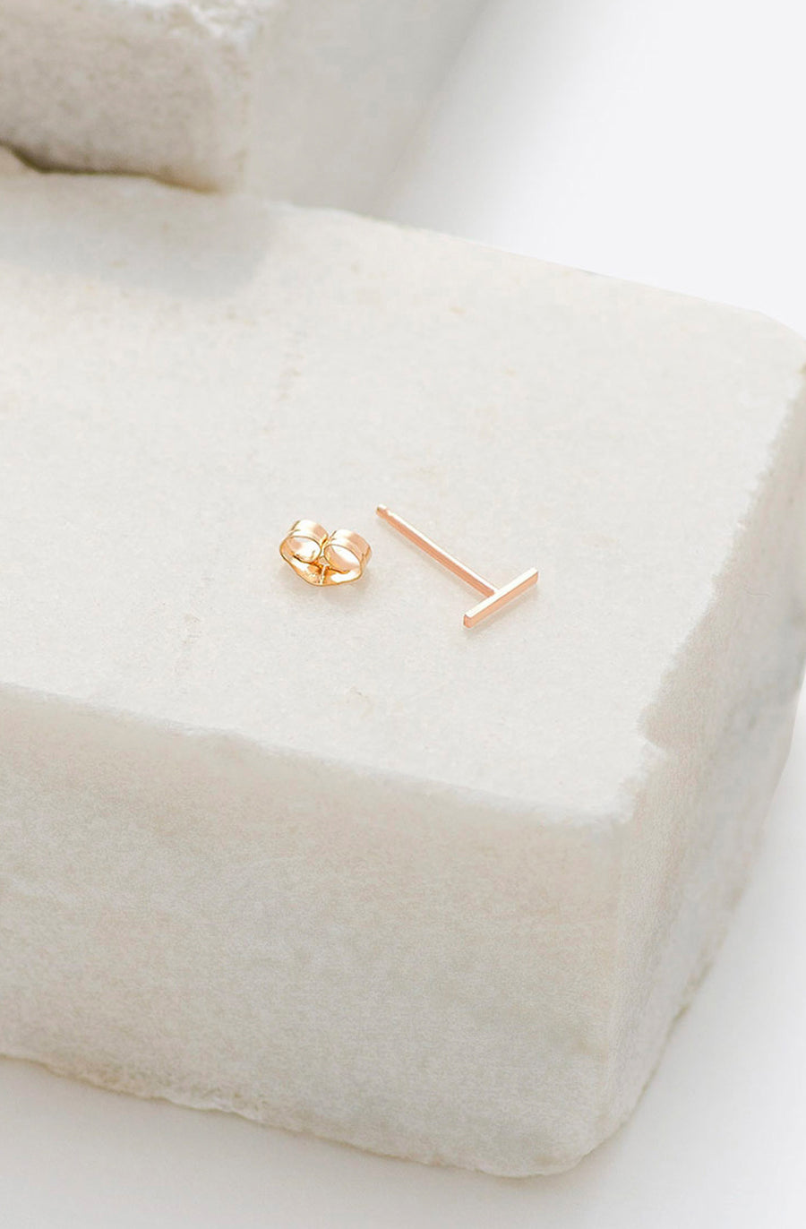 Staple Stud Earring-14k yellow gold