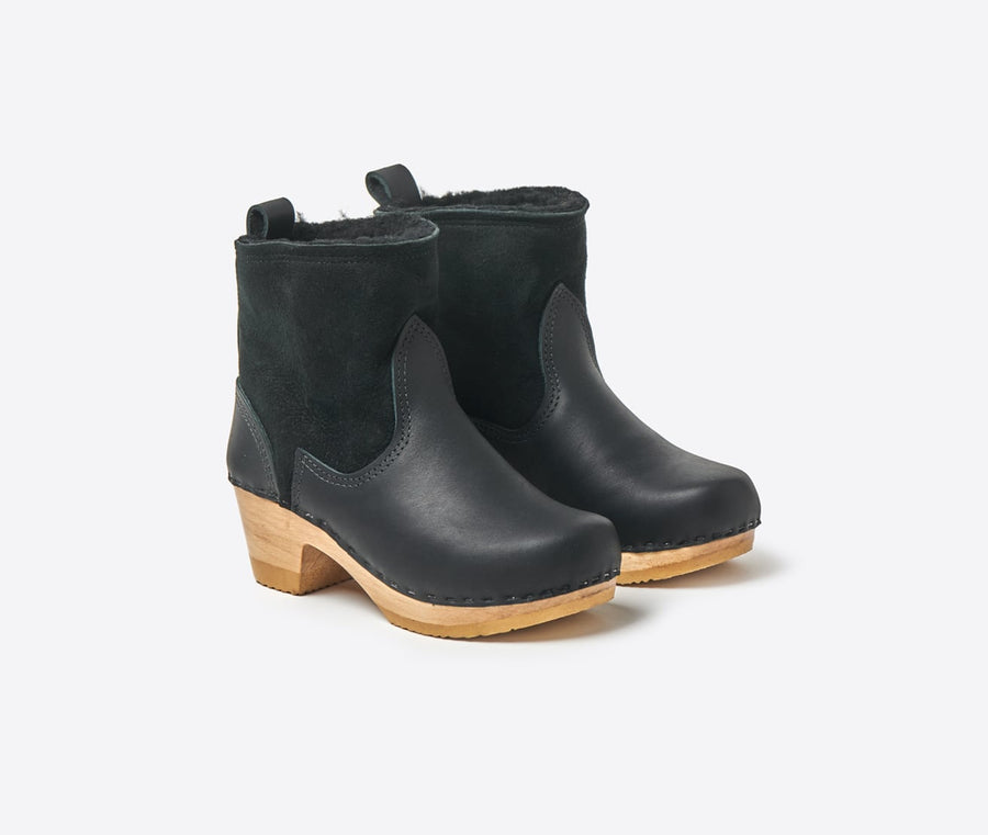 5 Shearling Suede Mid Heel Boot-black