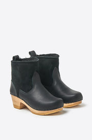"5"" Shearling Suede Mid Heel Boot-black"