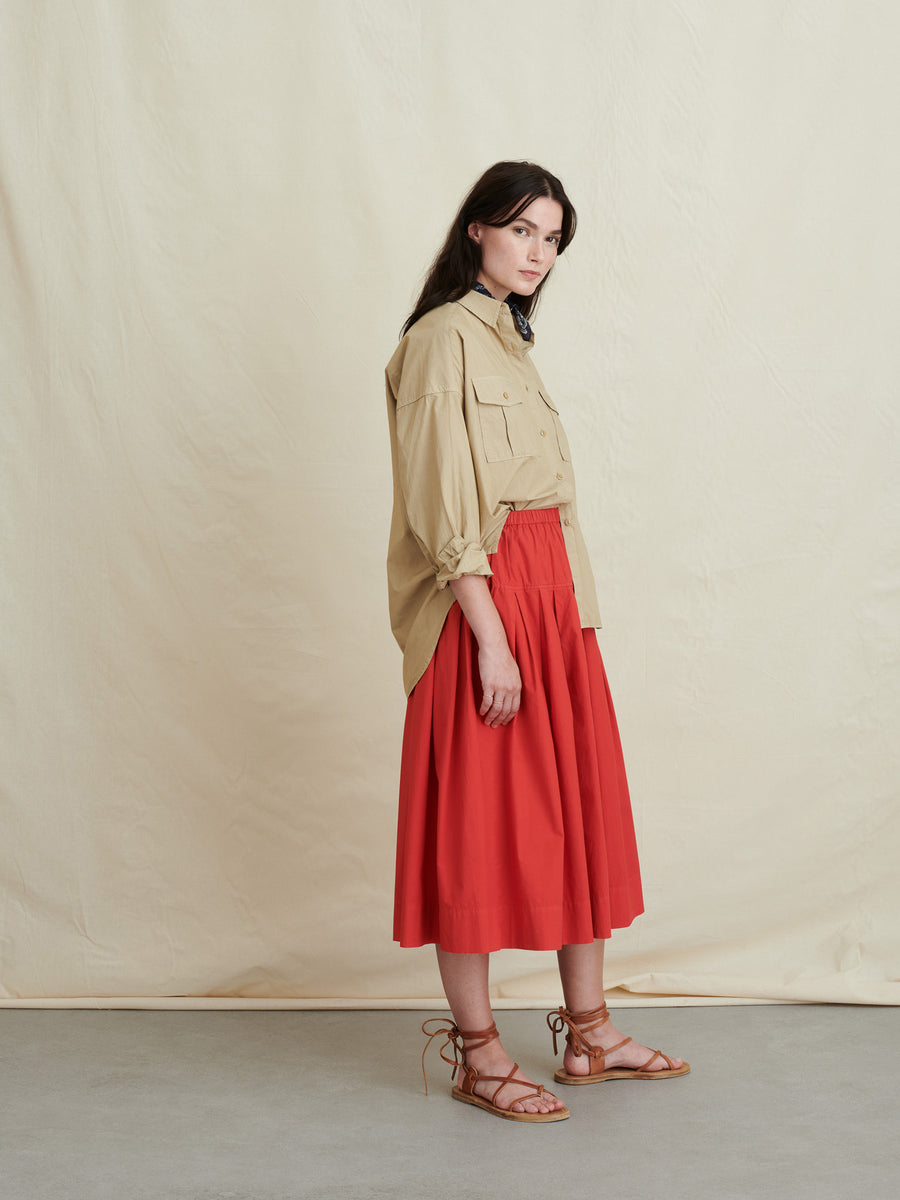 Pull On Skirt-berry red