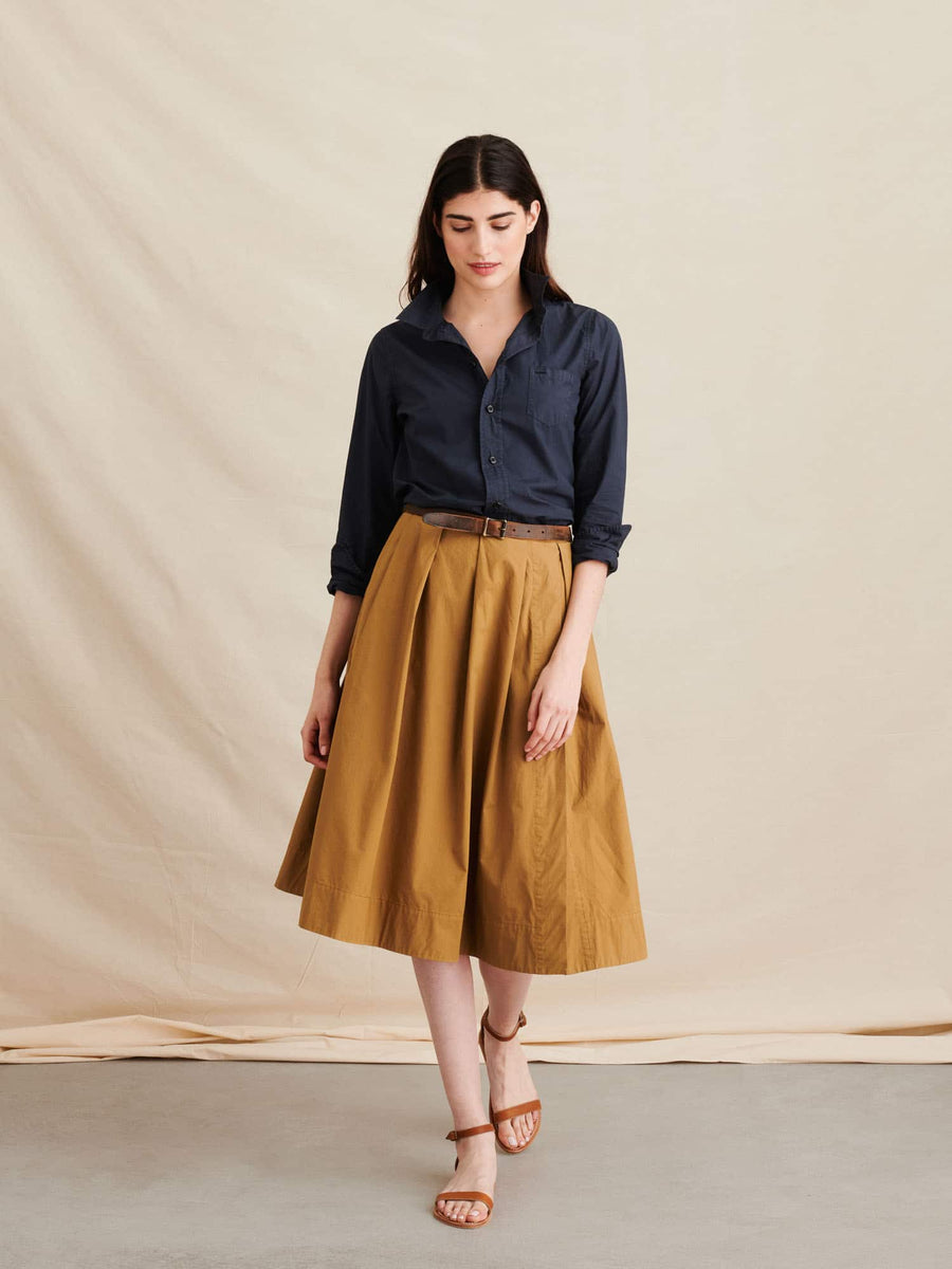 Midi Skirt-khaki brown