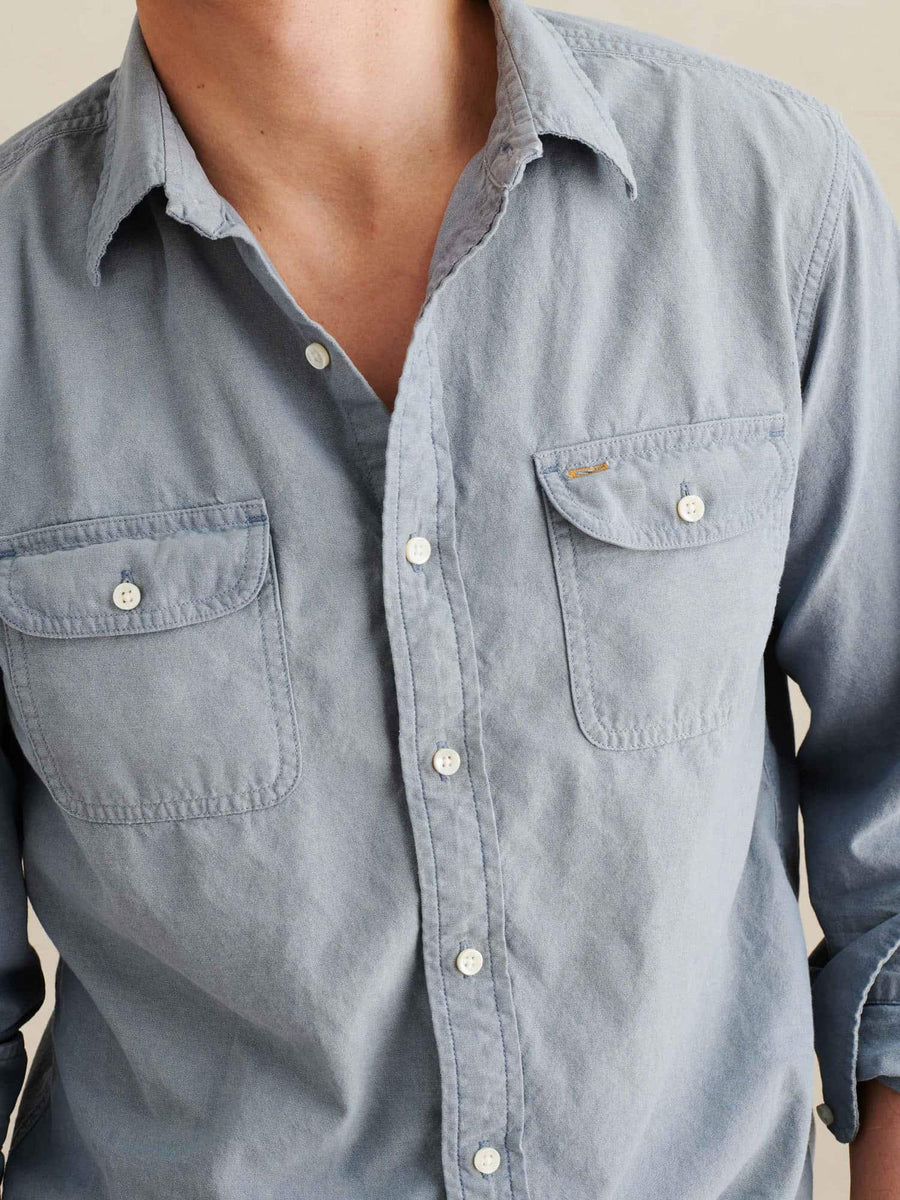 Chambray Double Pocket Shirt-blue