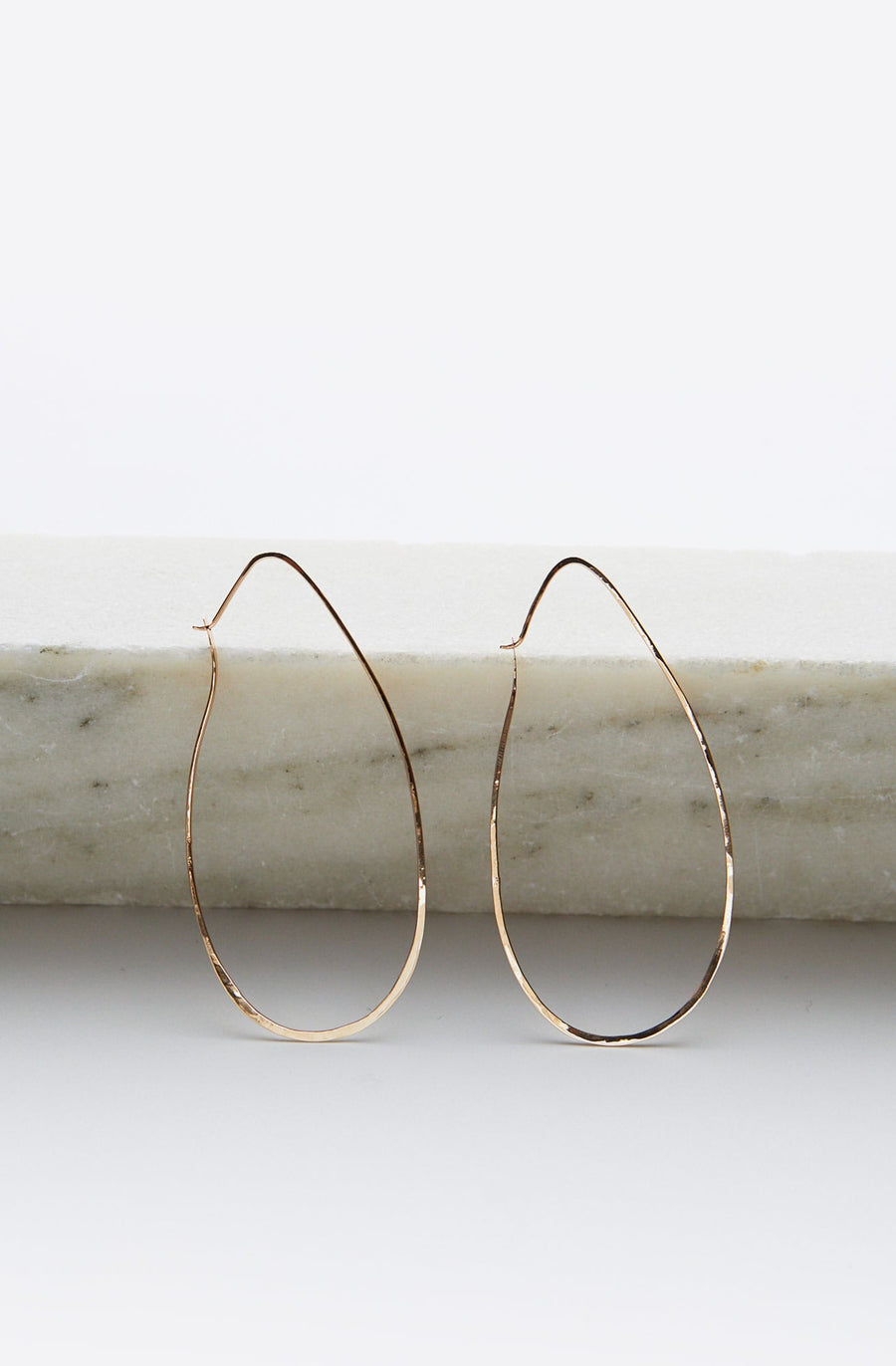 Tear Drop Hoop Earrings-14K yellow gold