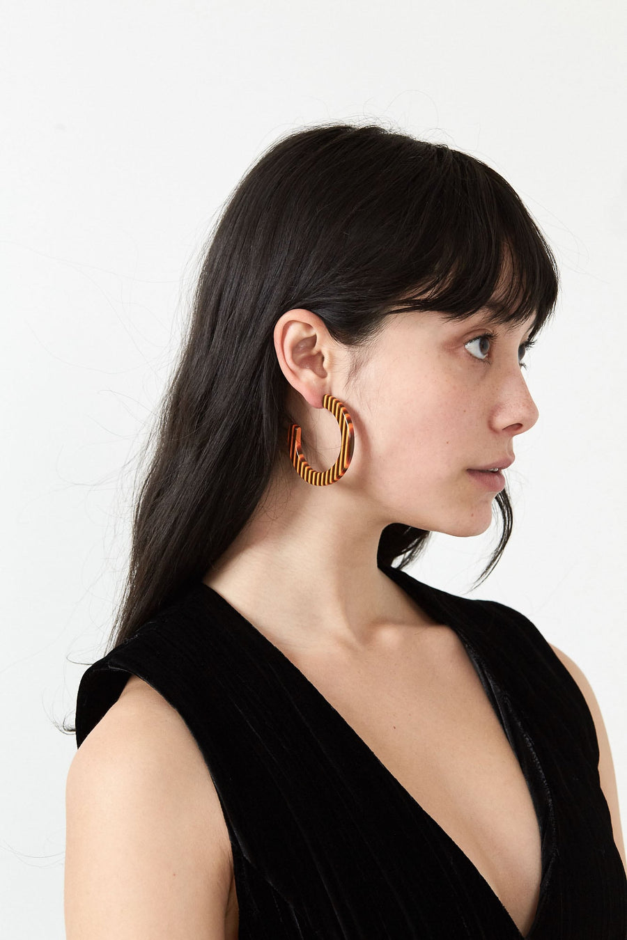 Medium Circular Hoop Earrings-orange stripe