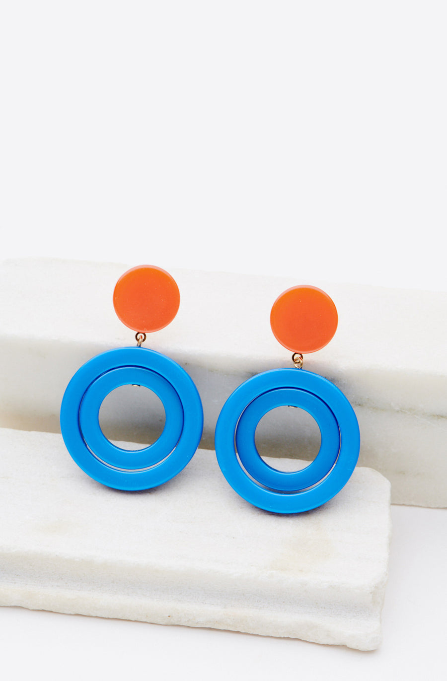 Carline Earrings-bleu/orange brillant