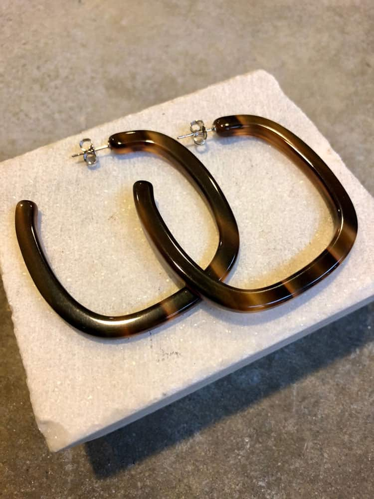 Small Thin Square Hoop Earrings-brown stripe