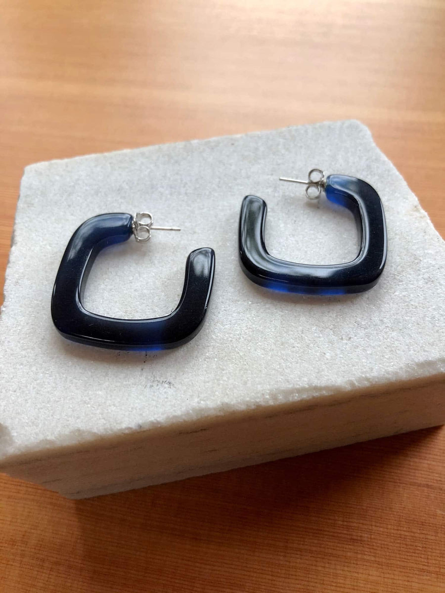 Tiny Square Hoop Earrings-navy blue