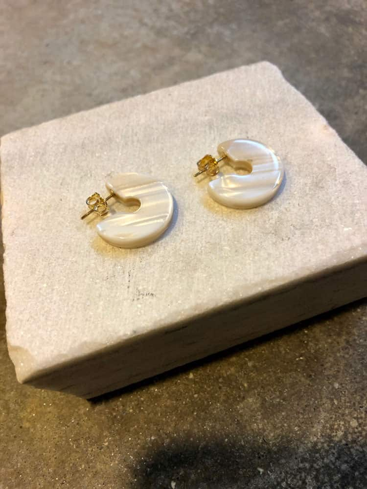 Tiny Disc Hoop Earrings-ivory