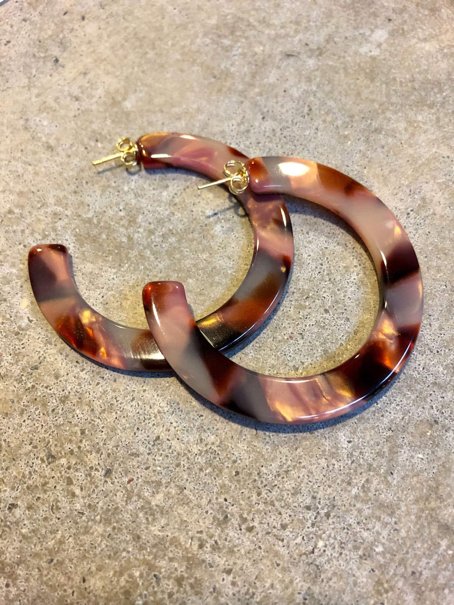 Medium Circular Hoop Earrings-rose
