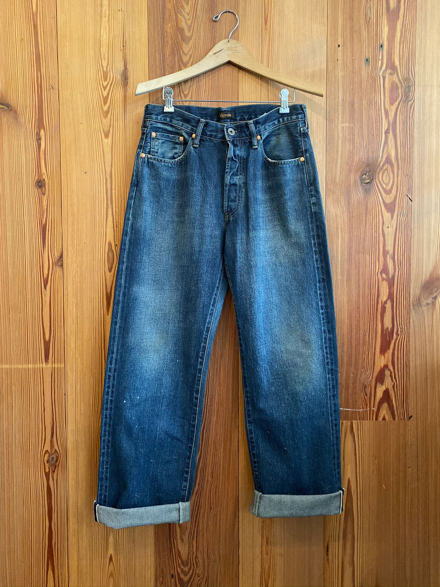 Selvedge Denim Vintage Deep Rise Fit Jean-used dark