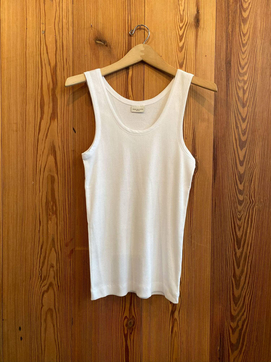 Herman Ribbed Tank-white