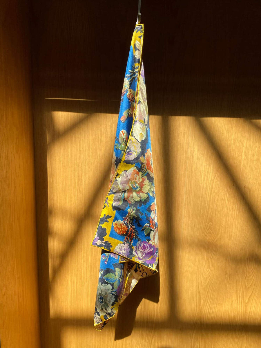 Flamboyant Floral Scarf-blue