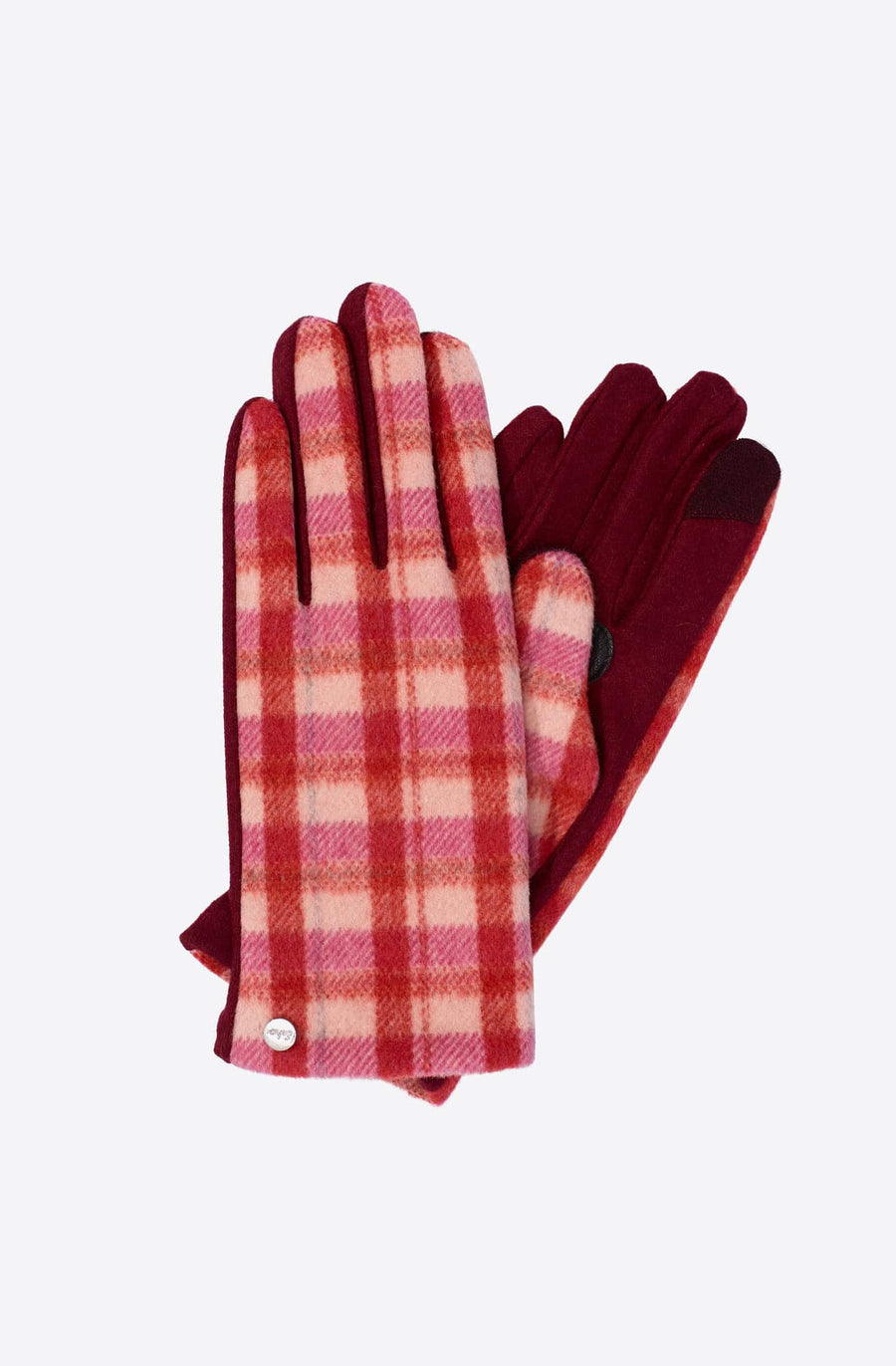 Plaid Touch Glove-garnet