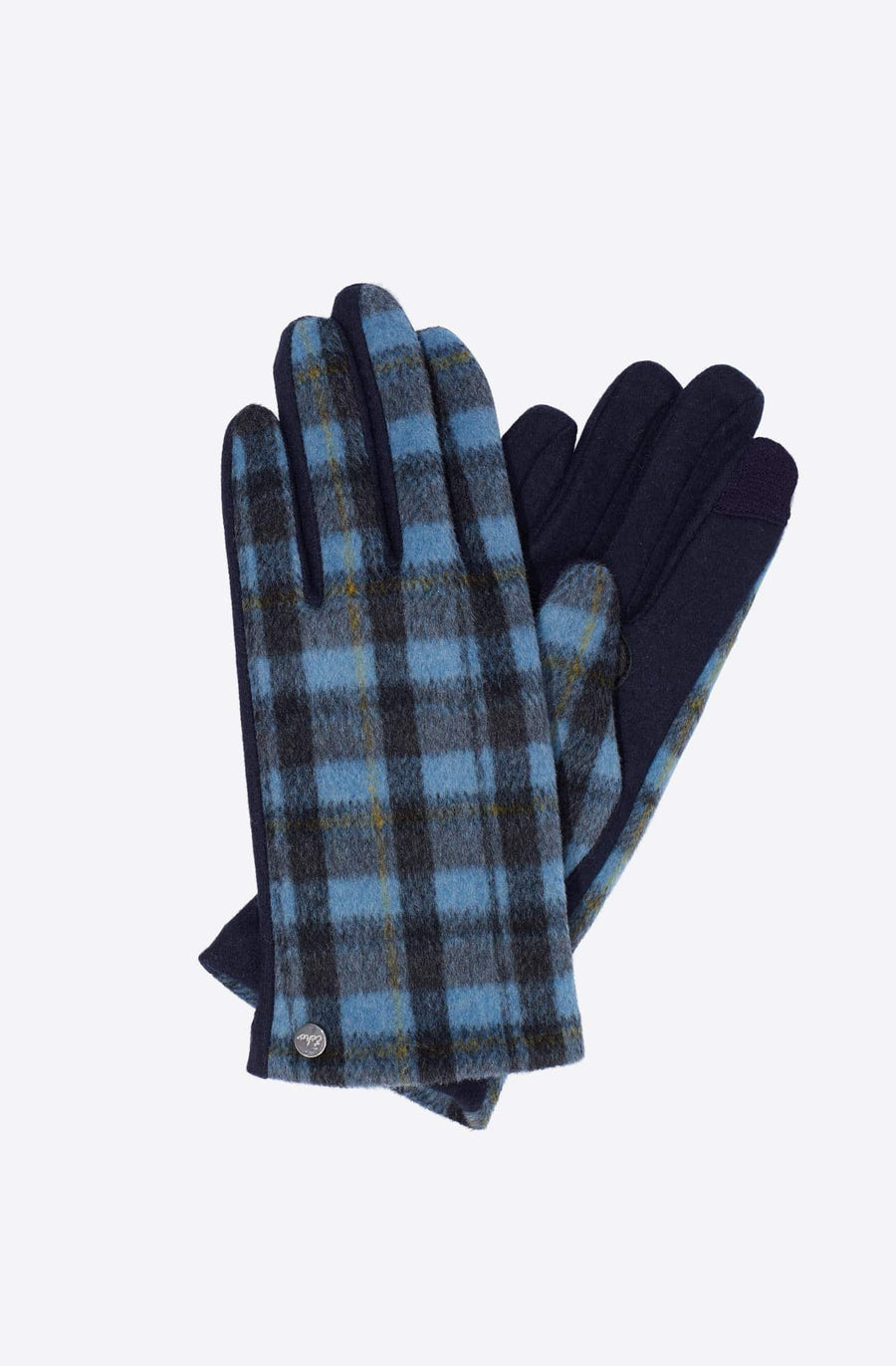 Plaid Touch Glove-navy