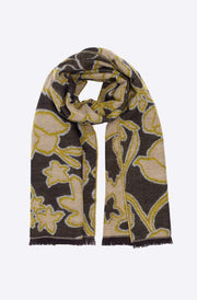 Graphic Floral Jacquard Scarf-frappe