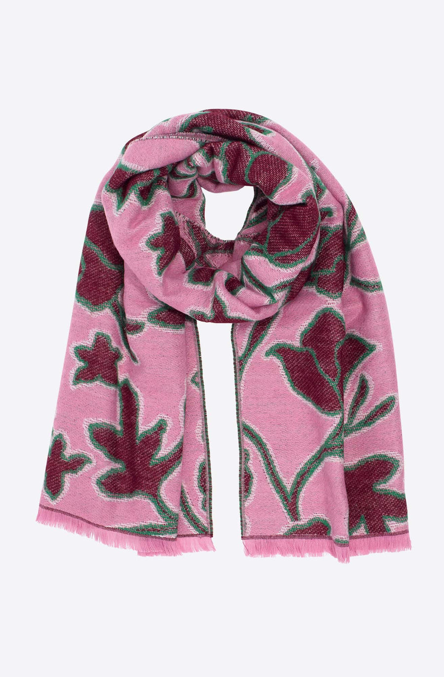 Graphic Floral Jacquard Scarf-rose
