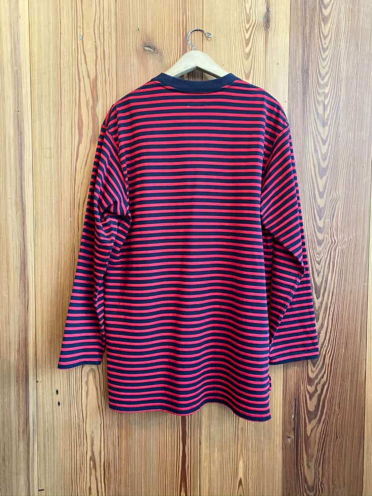 Stripe Crewneck Shirt-navy/red