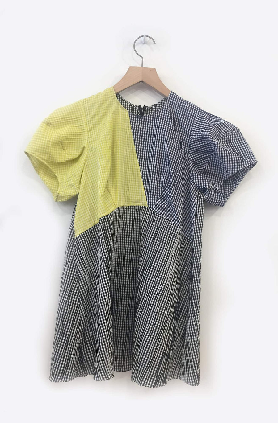 Kika Blouse-black/navy/lemon contrast