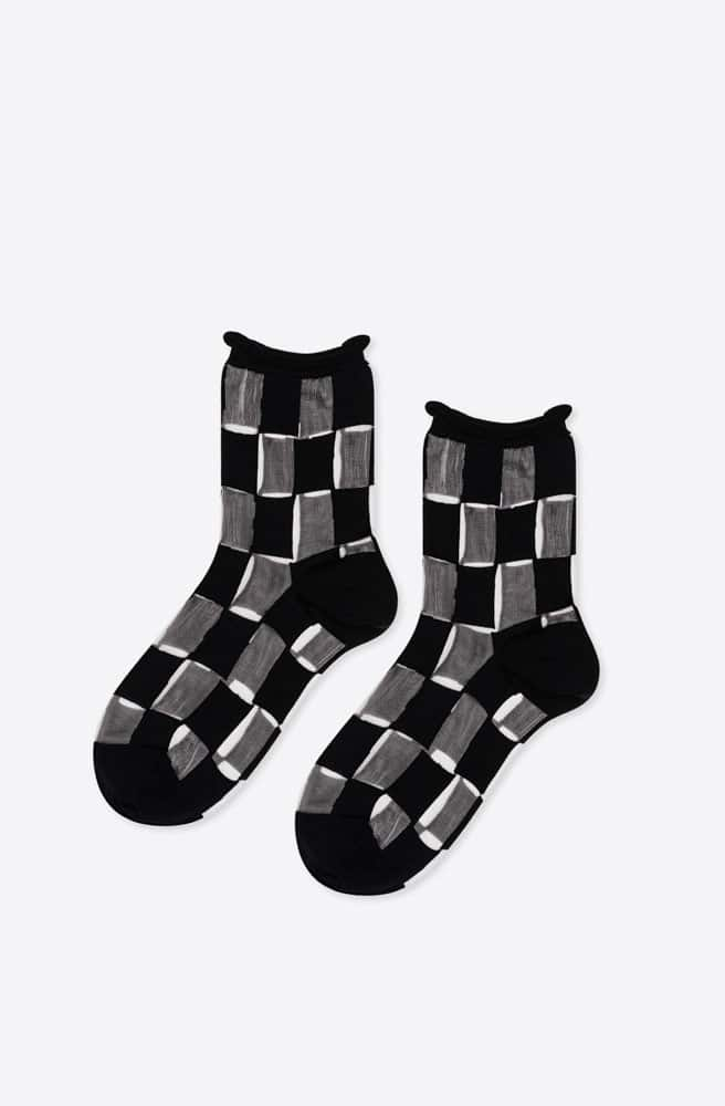 Berlin Sheer Short Crew Sock-black