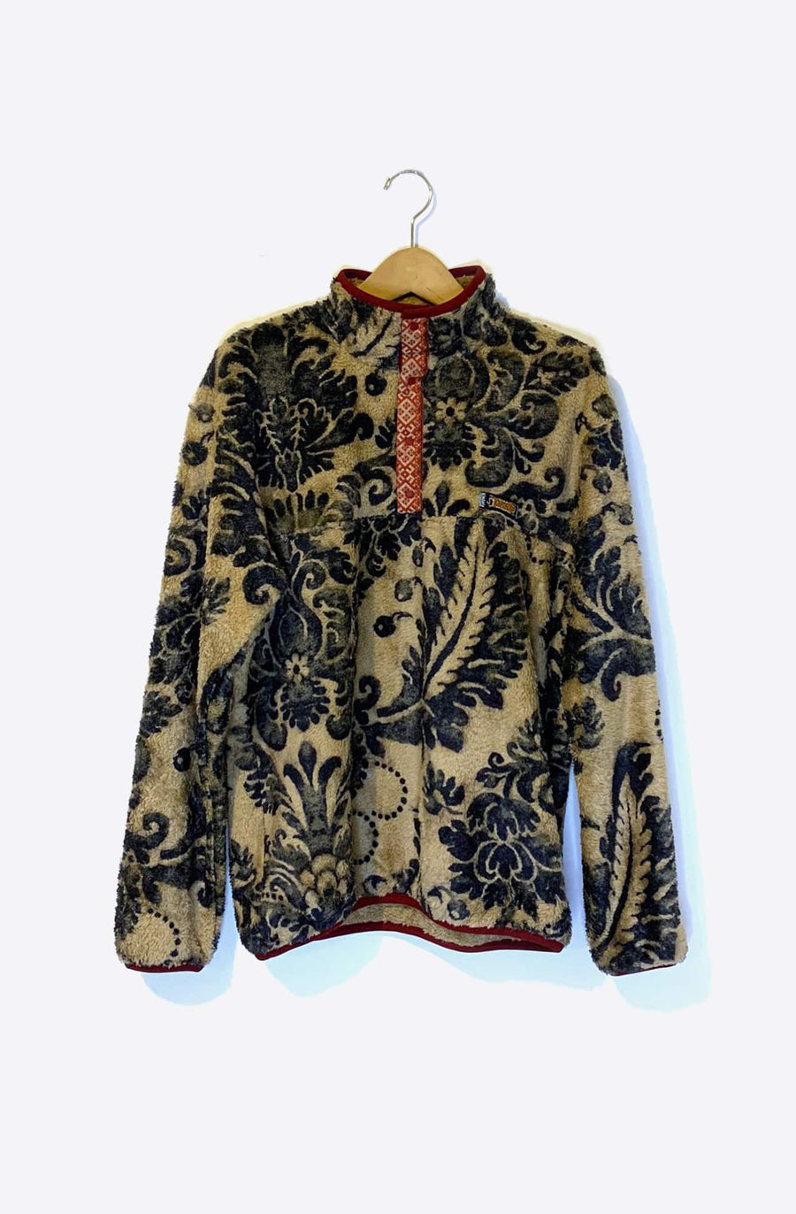 Damask Fleece Pullover Jacket-beige