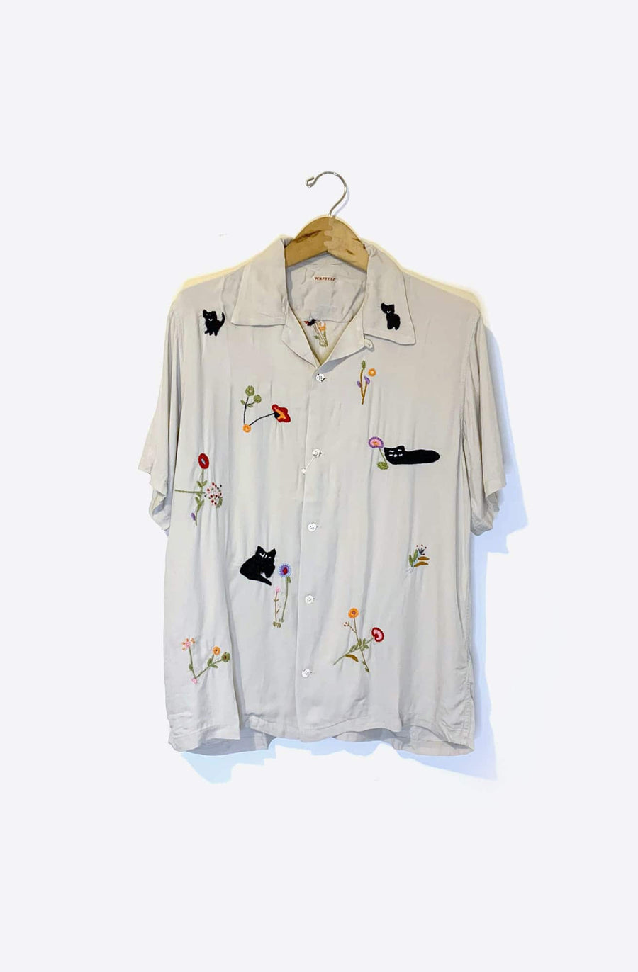 Cat Embroidery Shirt-ecru