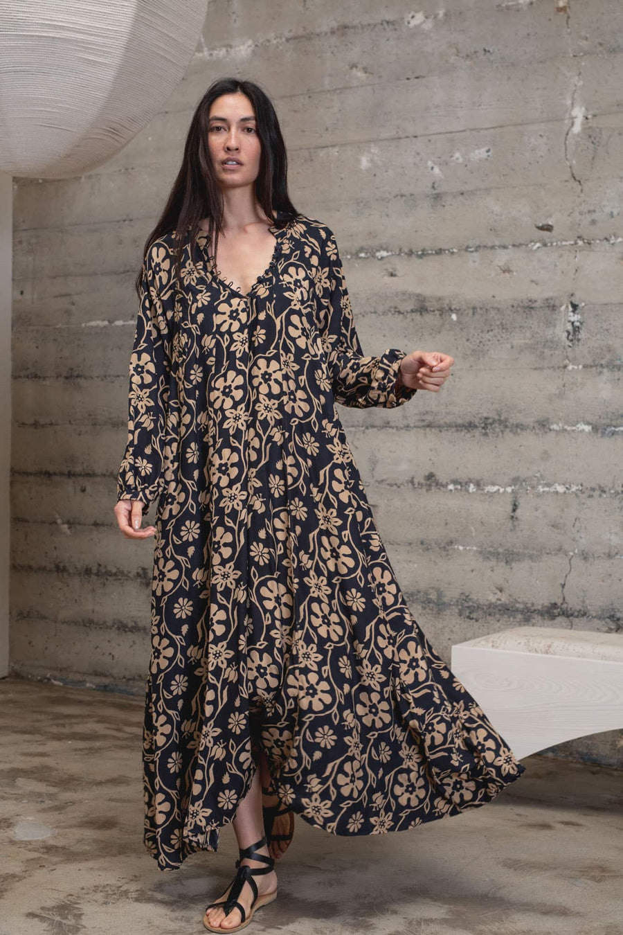 Fiore Maxi Dress-botanical black