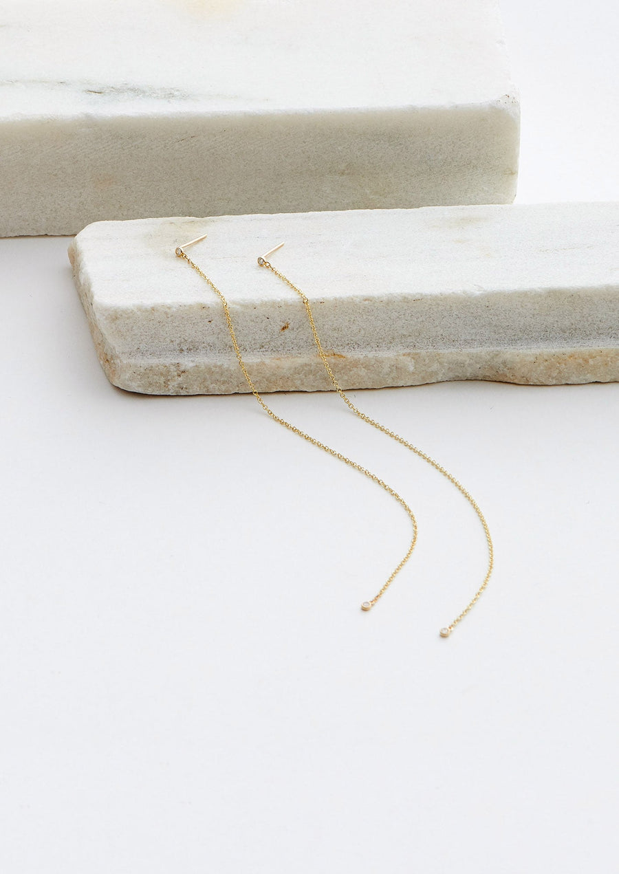 Long Diamond Dot Chain Earrings-14K yellow gold