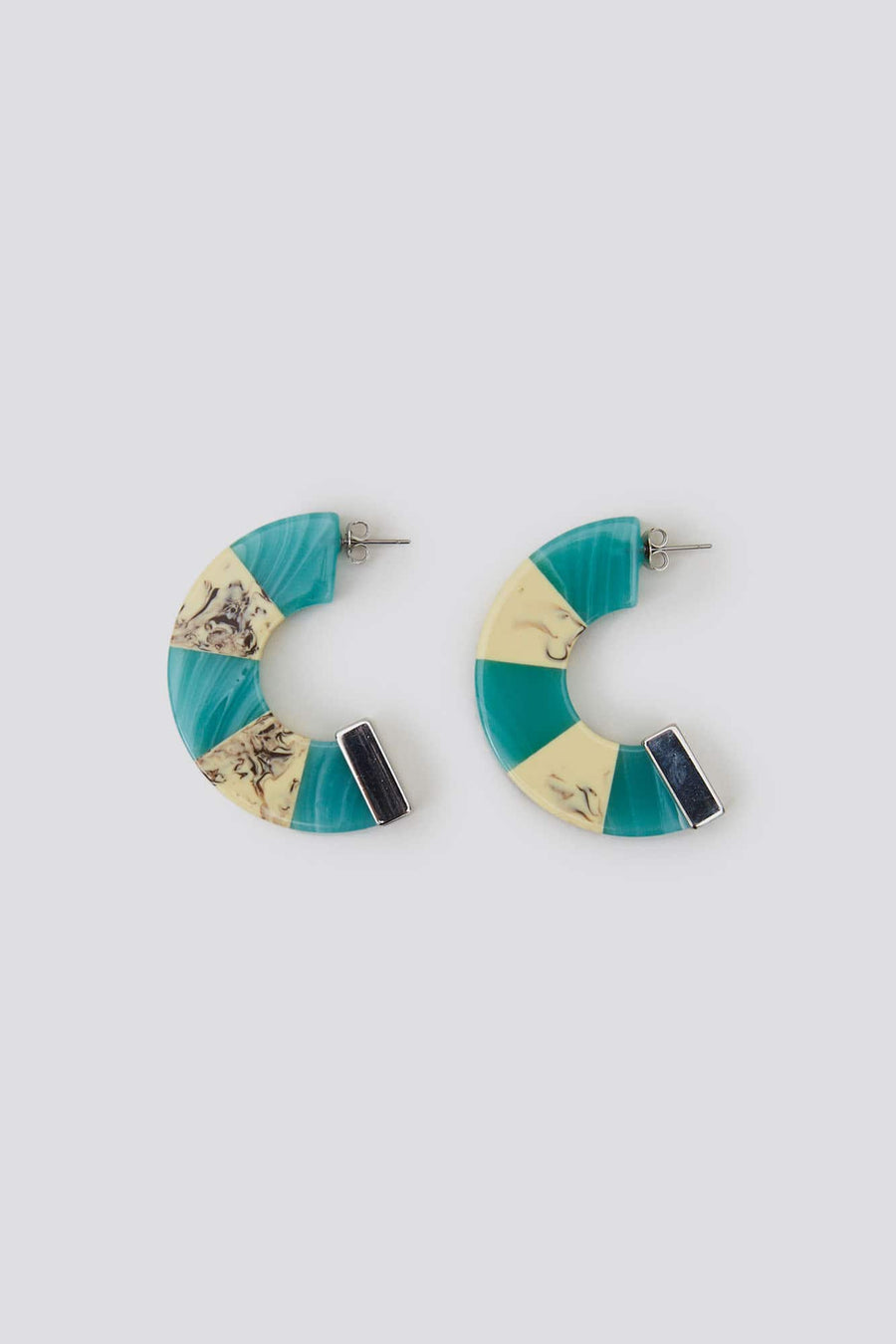 Tabby Earrings-turquoise-white marble