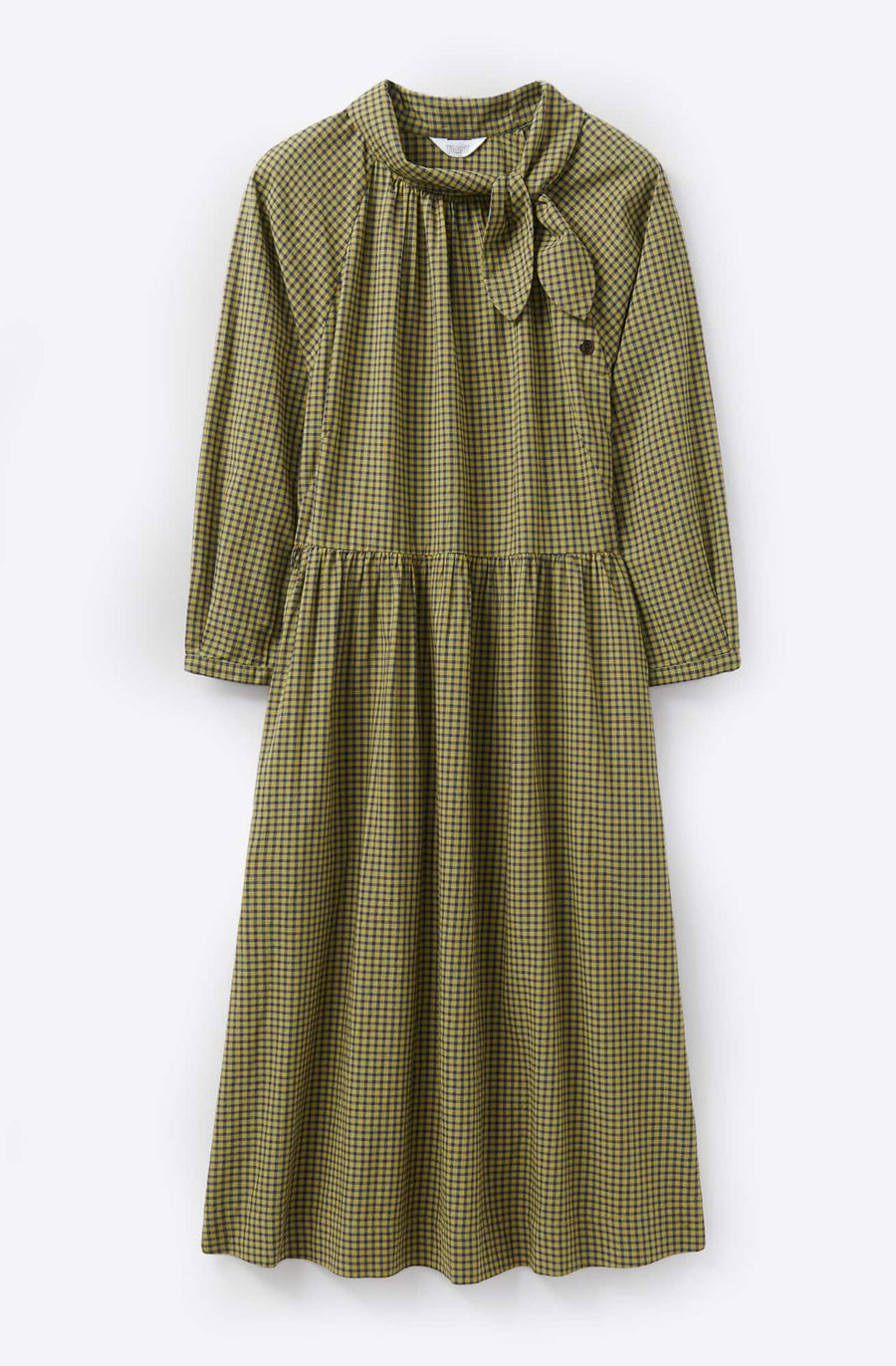 Ora Tie Neck Dress-olive