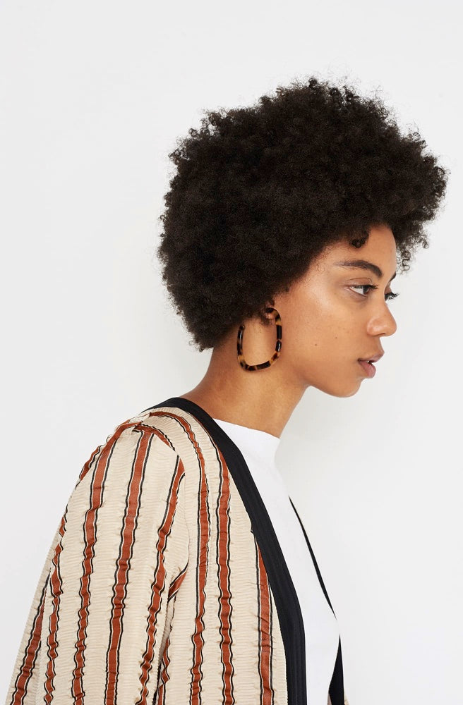 Large Square Hoop Earrings-dark tortoise