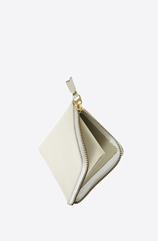 Classic Leather Corner Zip Wallet-off white