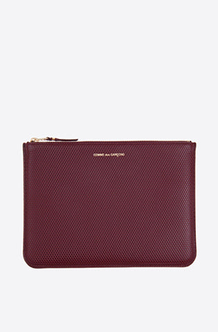 Luxury Group Embossed Large Zip Pouch-burgundy
