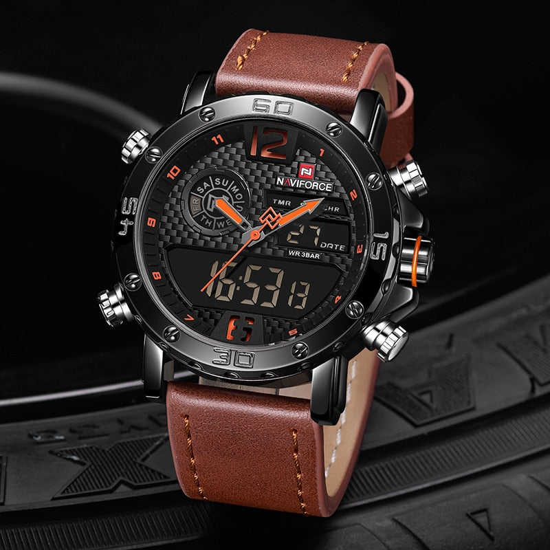 Leather Sports Watch  LED Digital Clock Waterproof