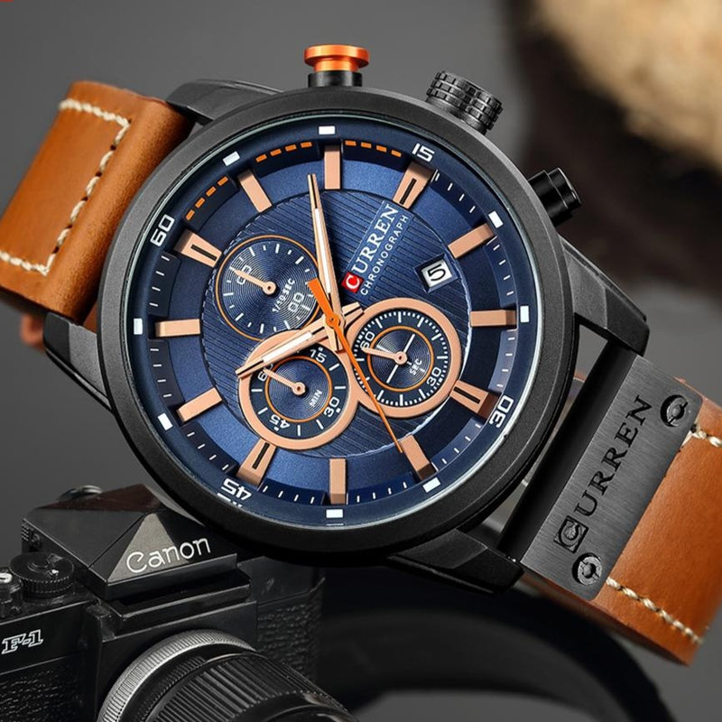 Analog Digital Leather Sports Army Watch