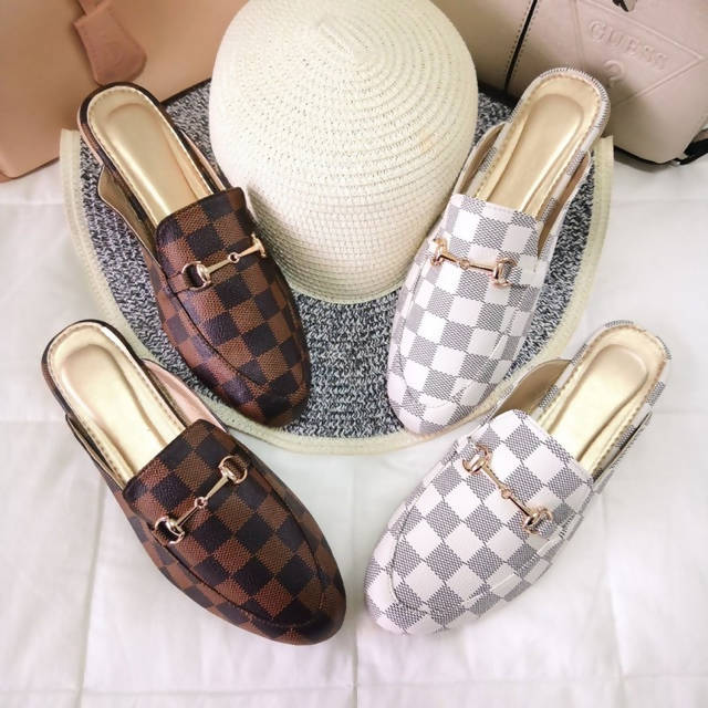 AOB: Checkered Ribbon and Buckled Half Shoes