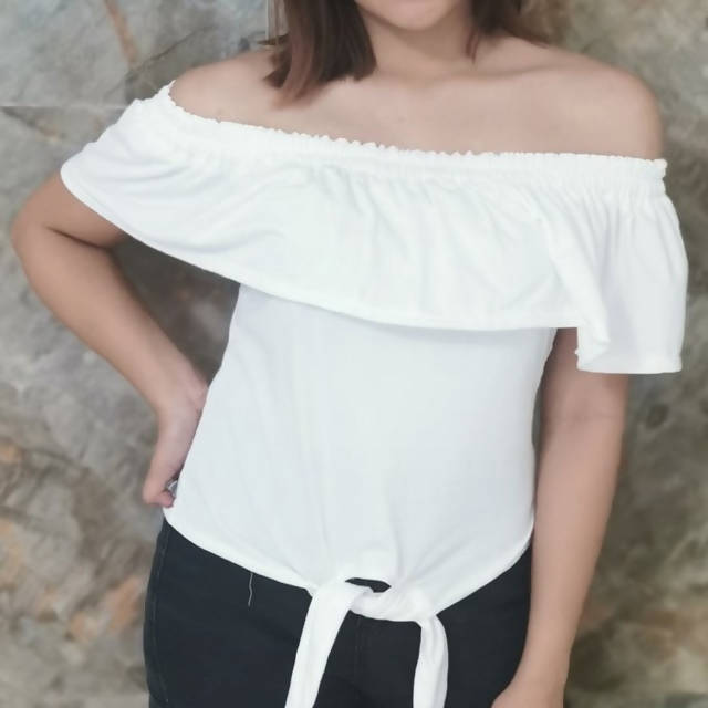 AOB: Off Shoulder Tie Down Top