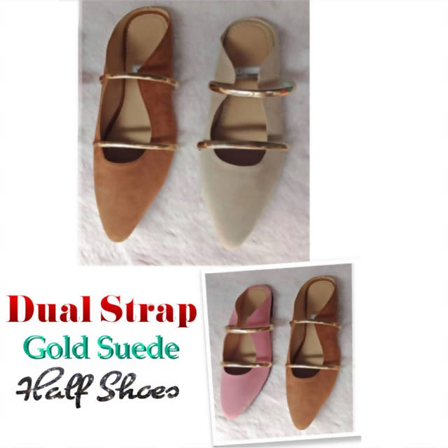 CH24- Dual Strap Gold Suede Half shoes