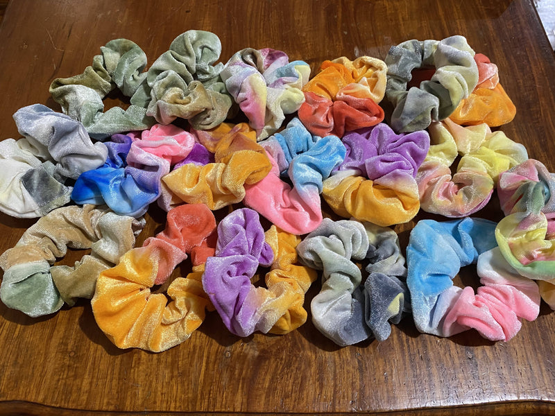 Rainbow Velvet Scrunchies