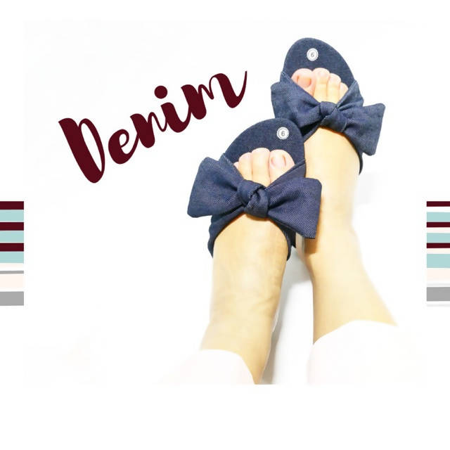 AOB: Denim Ribbon Flat Slippers