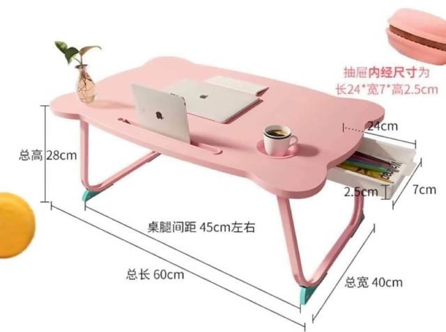Foldable laptop table with drawer