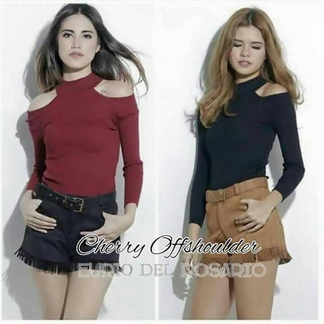 AOB: Cherry Cold Shoulder Long Sleeves