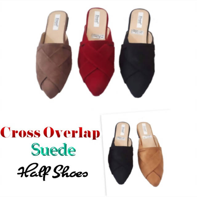 SHA 003 - Korean Cross Overlap Suede Half Shoes