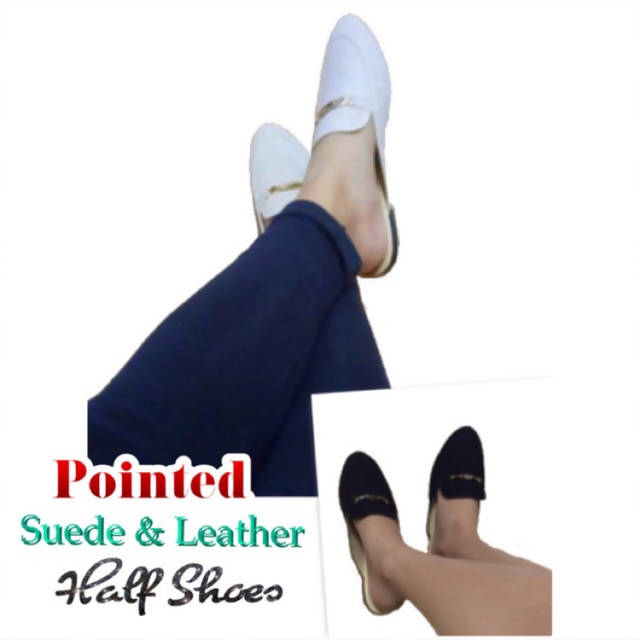 JLT102- Pointed Suede Half Shoes
