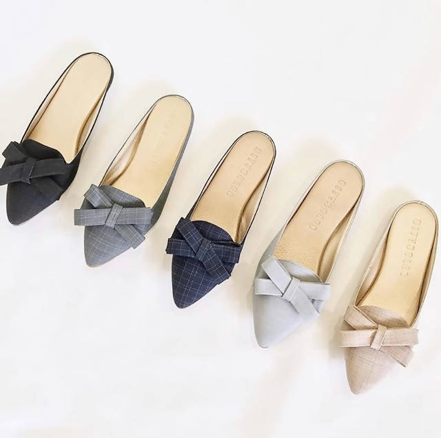 T09- Korean Mini Ribbon Suede Half Shoes