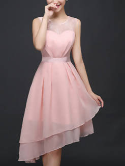 Pink Slim Linking Lace See-Through Asymmetrical Hem Zipper Back Cute Dress for Formal Prom Bridesmaid