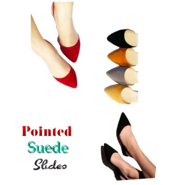 JLT302- Pointed Suede Slides