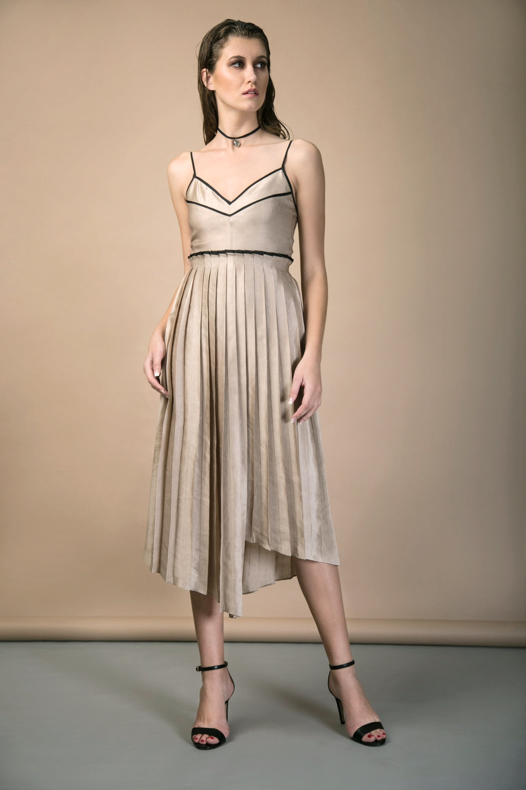 BIRDWALK PLEATED ASYMMETRIC DRESS
