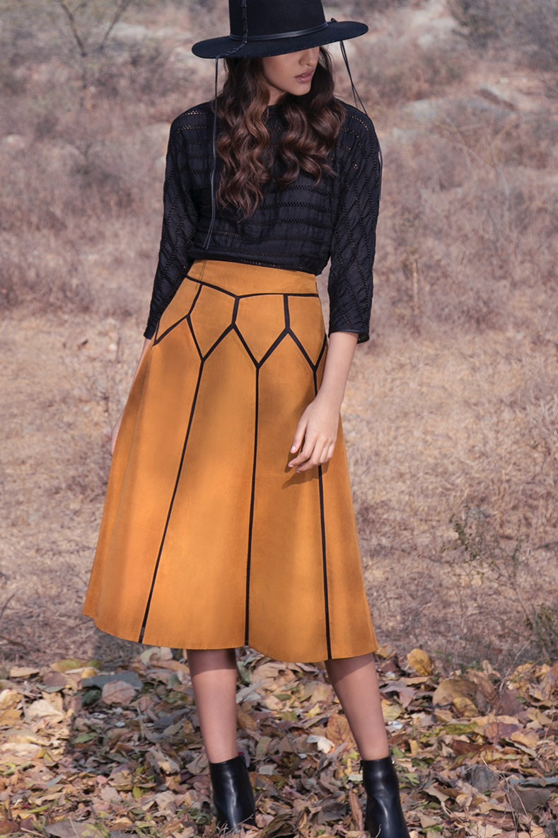 BIRDWALK SILK PATCH MUSTARD SKIRT