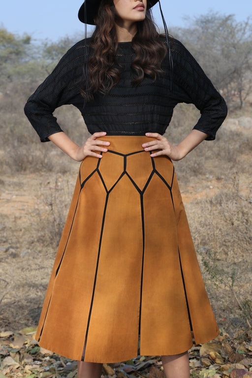 BIRDWALK SILK PATCH GEOMETRIC SKIRT